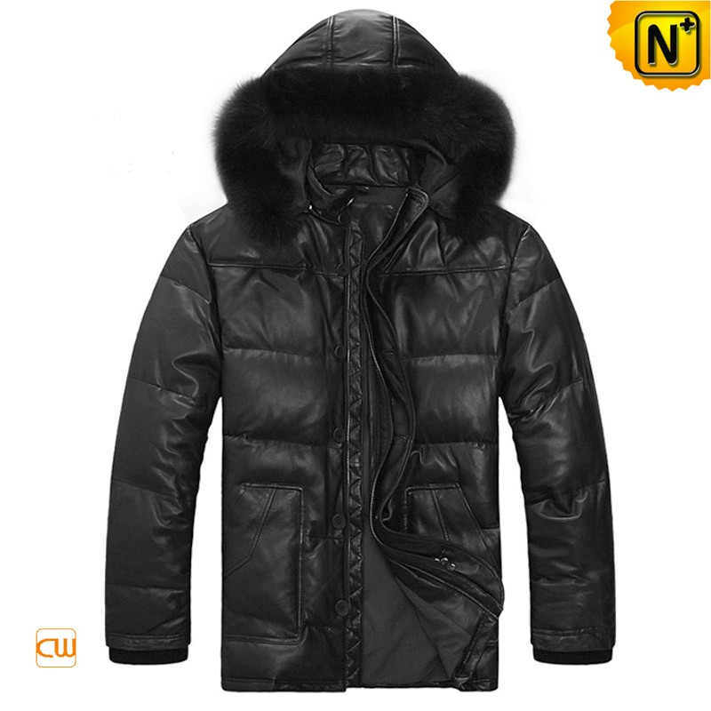 Hooded Leather Down Jackets For Men CW880003