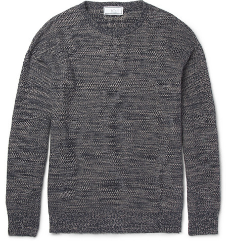 Ami Textured Knitted Linen and Cotton-Blend Sweater | MR PORTER
