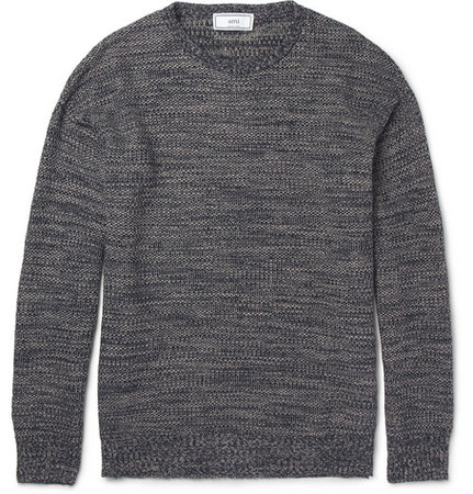 Textured Knitted Linen and Cotton-Blend Sweater 13ss