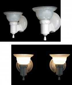 "Lighting&Electric - 1930-40's ""2-way"" Porcelain Bathroom Lamp 1台 - FUNNY SUPPLY □ Antiques ■"