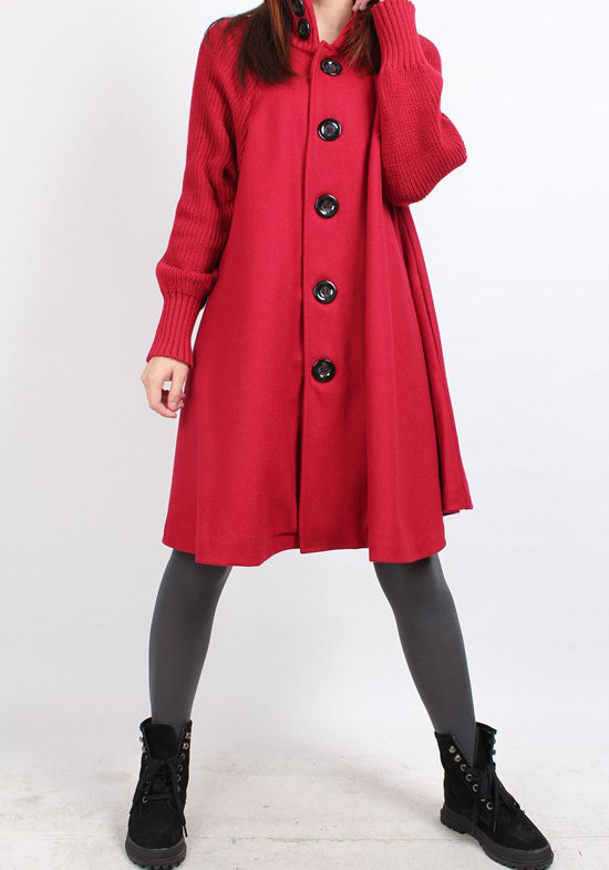 Knitted sleeve wool cape coat 4 color by MaLieb on Etsy