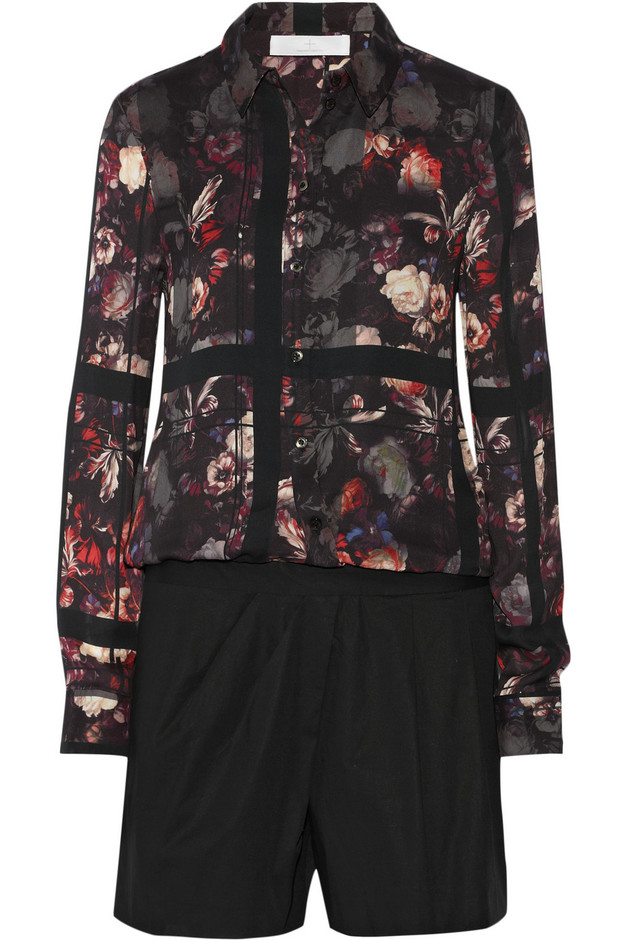 Thakoon Addition|Printed crepe and cotton-blend poplin playsuit|NET-A-PORTER.COM