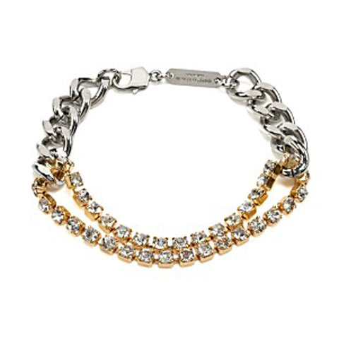 Martin Margiela Accessories Silver and Gold Mixed Chain and Rhinestone Bracelet on StyleCaster