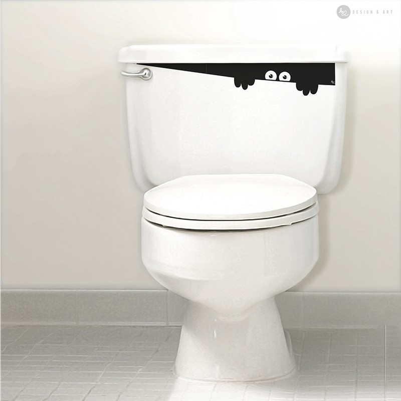 Toilet Monster bathroom eco sticker for toilet flush wall sticker and art decals by Hu2 Design