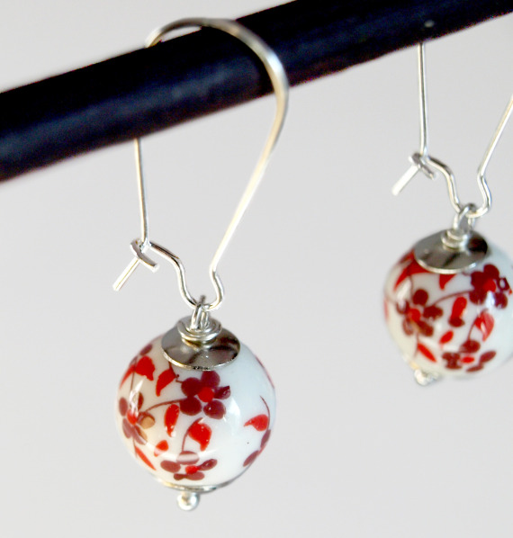 Asian Ceramic Red Flowers-Dangle Earrings | Luulla