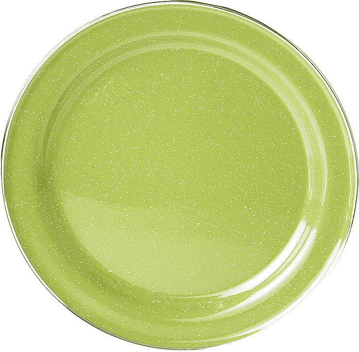 gsi outdoors stainless rim enamelware dinner plate 10in green :: at peak62.com