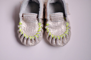 Freshlypicked — Moccasins - Gold with Neon Green Stitching