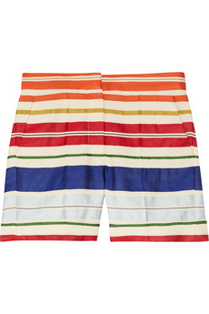 Stella McCartney | Deckchair-striped cotton and silk-blend shorts | NET-A-PORTER.COM