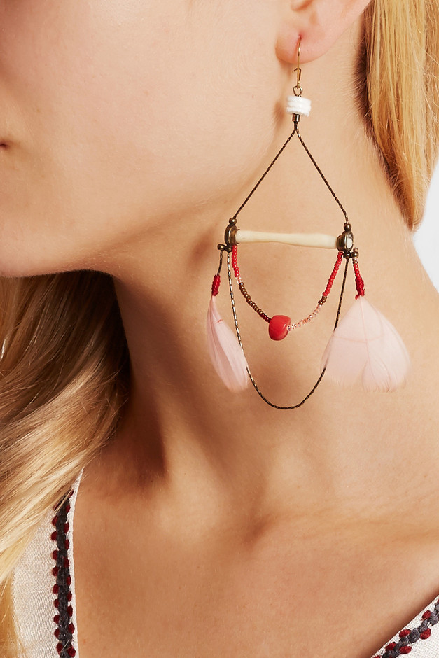 Etro|Gold-plated, bone, coral, shell and feather earrings|NET-A-PORTER.COM