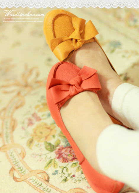 Lovely flat heels women shoes bow shoes baby shoes round boat shoes ... from gong_nan_nan heap sugar network share