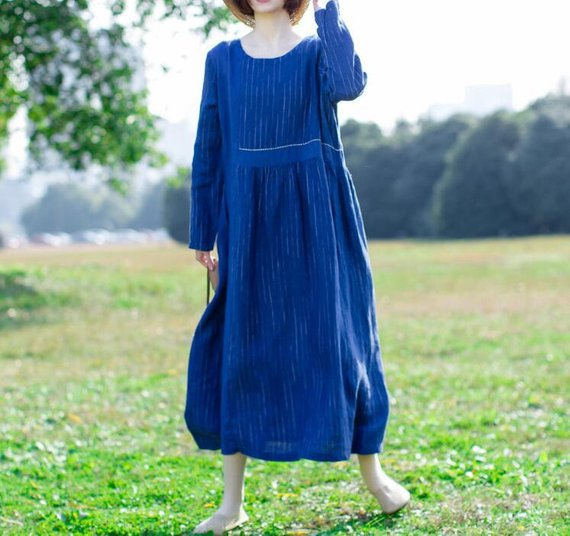 Women's blue Dresses Woman Long Sleeve dress Loose round | Etsy