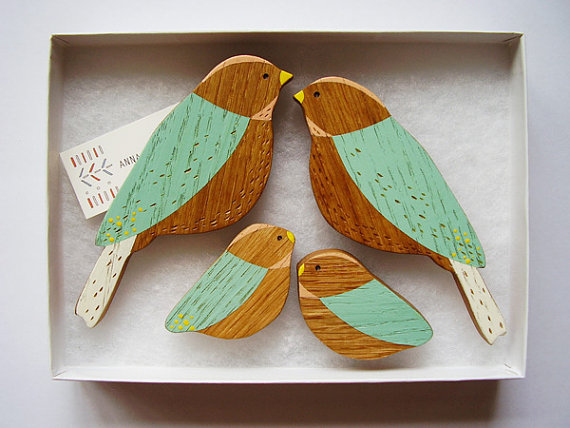 Wooden Wall birds Family sets by AnnaWiscombe on Etsy