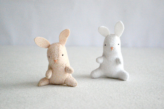 baby bunny plush felt rabbit by royalmint by RoyalMint on Etsy