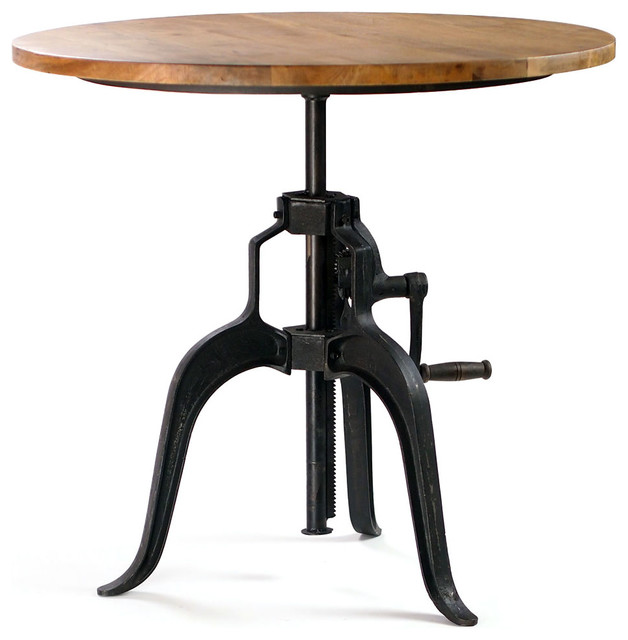 Carnegie Industrial Style Bar Table with Crank, Wood Top - industrial - dining tables - by CRASH Industrial Supply
