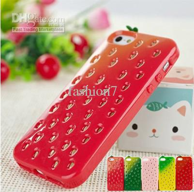 Wholesale Back Case - Buy Vivid Strawberry Fruit Design Colorful Soft TPU Case Ultra-thin Ultra-light Back Cover Skin for Iphone5 5G DHL $6.76 | DHgate