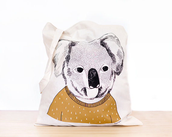 Koala screen printed canvas Tote bag by depeapa on Etsy