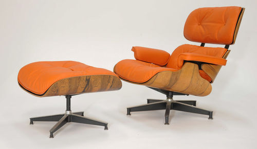 "herman miller Eames 670 and 671 Lounge Chair ottoman in ""Hermes"" orange leather 