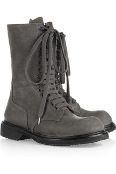 Rick Owens | Distressed leather combat boots | NET-A-PORTER.COM