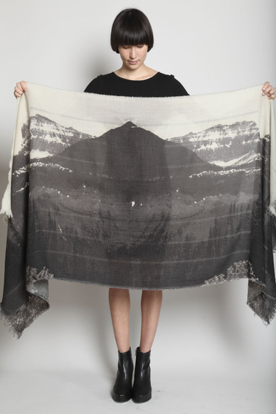 TOTOKAELO - U-Ni-Ty - Mountain Print Scarf - Faded Black Multi