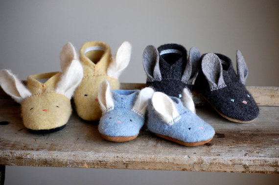 Bunny Shoes for Baby Easter Shoes Made to Order by WoolyBaby