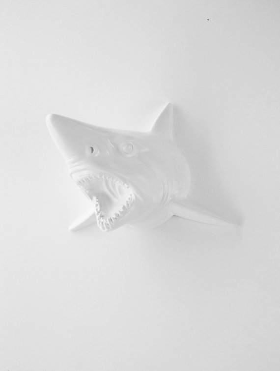 The Moffat White Resin Shark Head Shark by WhiteFauxTaxidermy