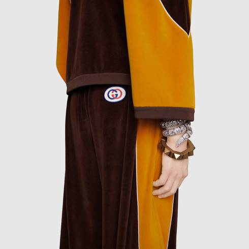 Chenille harem style pant in Brown cotton chenille with yellow contrast details | Gucci Men's Activewear