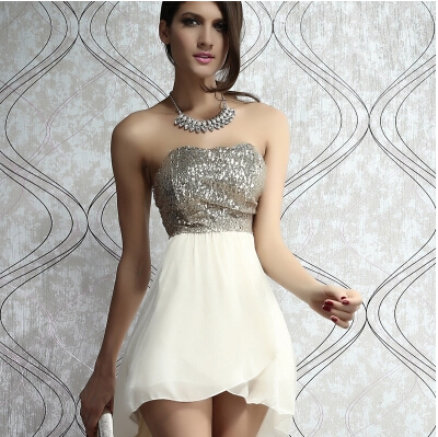 lulula-fashion shopping mall — [glj10087]Sexy Strapless Swallowtailed Sequin Embellished Chiffon Dress For Women