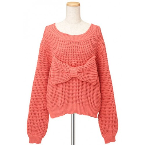Sweet Retro Simple Bowknot Knit Sweater for big sale!