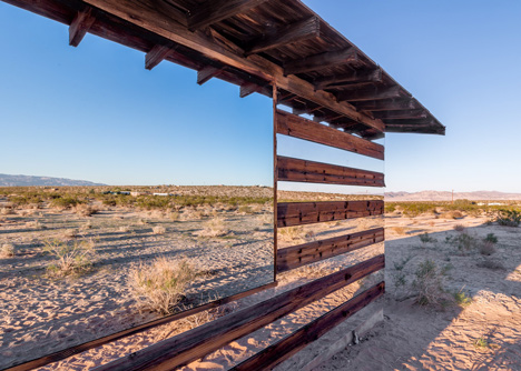 Lucid Stead installation by Phillip K Smith III at a desert cabin