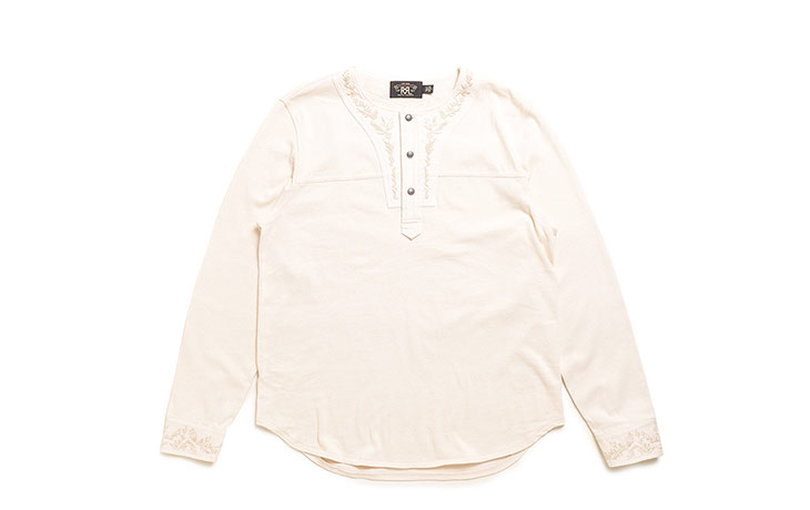 RRL/Embroidered Cotton Henley-Natural
