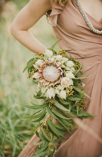 soft pink protea bouquet | wedding | Pinterest