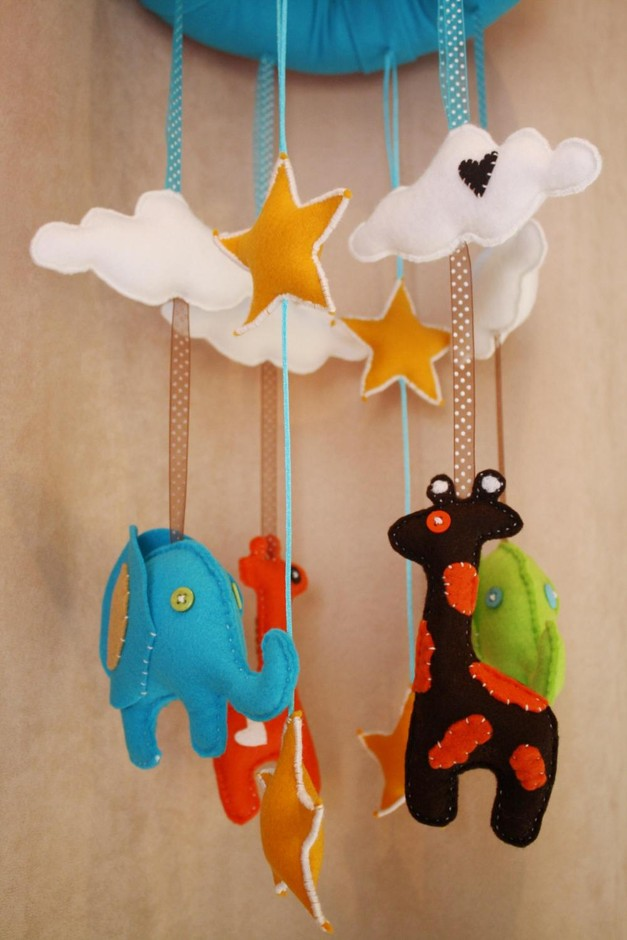 BOO!beloobie Jungle Baby Mobile With Giraffe, Elephant, Cloud And Star Detail In Blue, Green, Chocol | Luulla