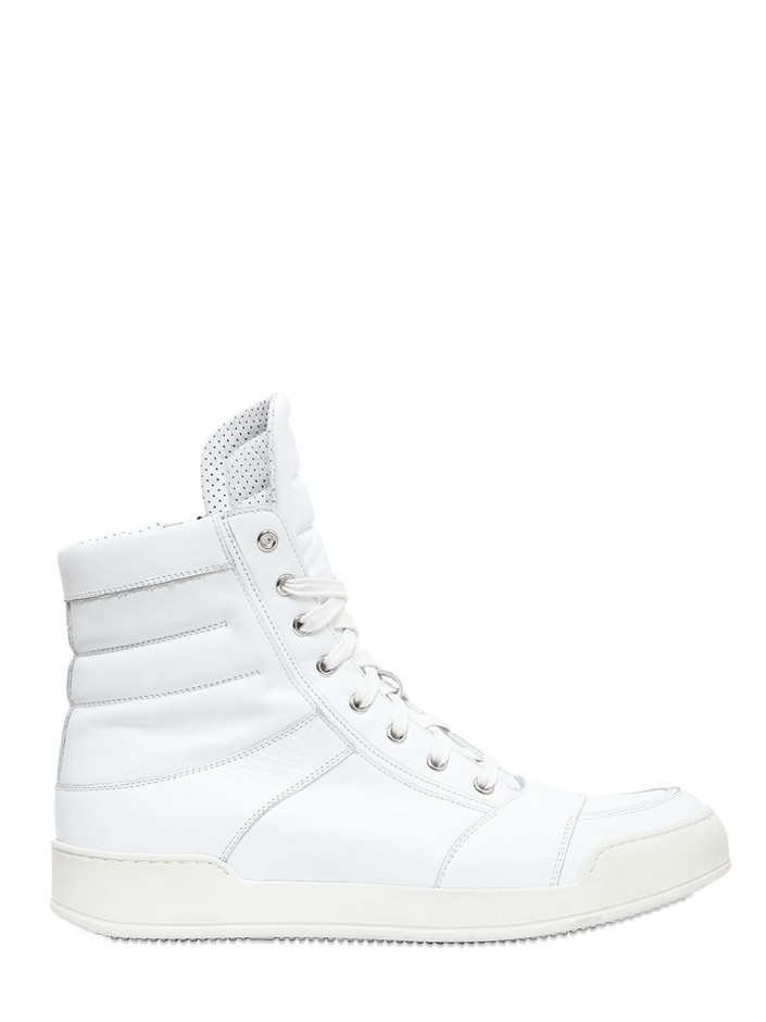 BALMAIN - LEATHER HIGH TOP SNEAKERS - LUISAVIAROMA - LUXURY SHOPPING WORLDWIDE SHIPPING - FLORENCE