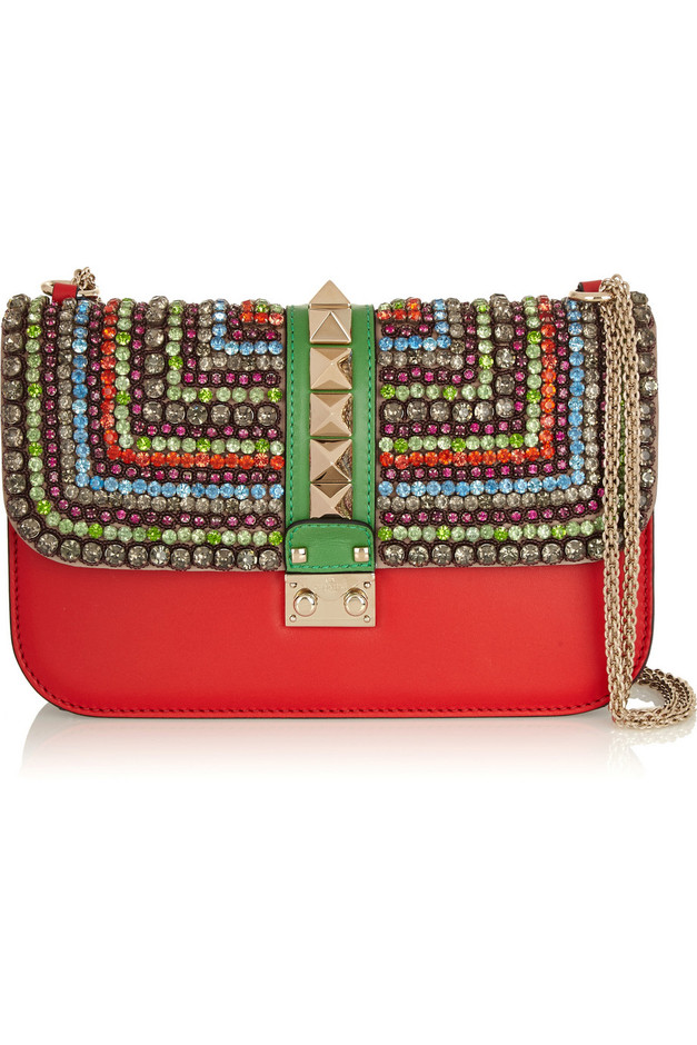 Valentino | Glam Lock medium crystal-embellished leather shoulder bag | NET-A-PORTER.COM