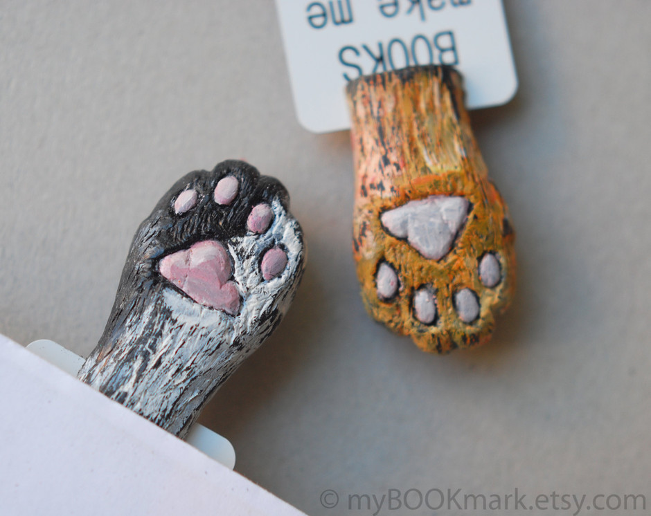 Cat paw Orange paw in the book Funny gift Cat in by MyBookmark