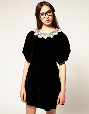 TBA | TBA Exclusive to ASOS Fine Lace Collar Velvet Dress at ASOS