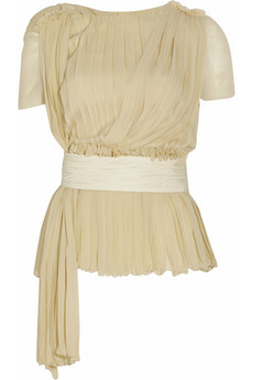 Chloé Pleated chiffon top - 70% Off Now at THE OUTNET
