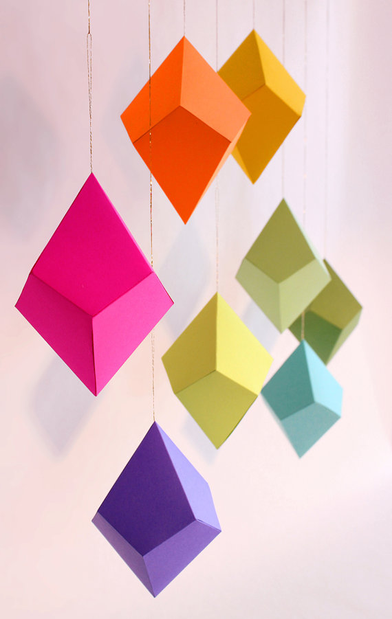 Set of 8 DIY CutandFold Paper Polyhedra by FieldGuideDesign