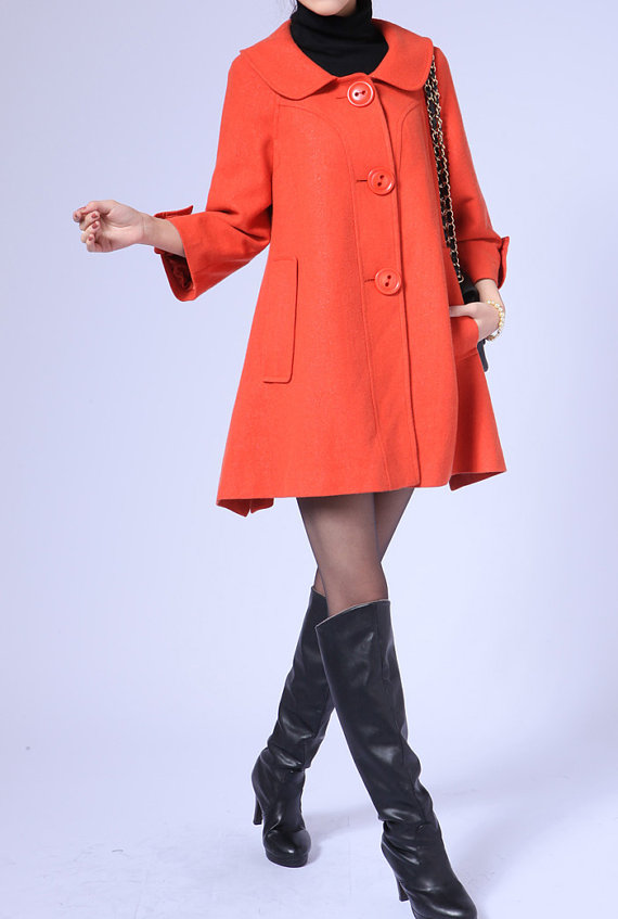 Seven cents Sleeve Single breasted doll style wool coat by MaLieb