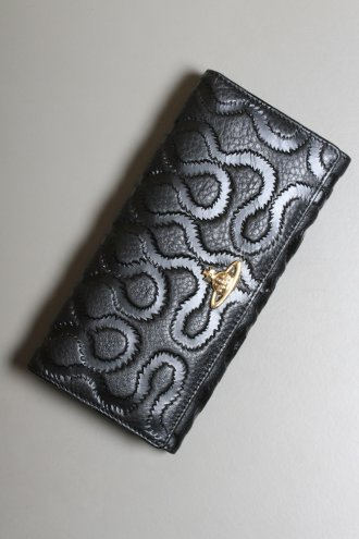 VIVIENNE WESTWOOD 2800VV67 Classic Squiggle Embossed Leather Purse in Black - PURSES from Autograph UK