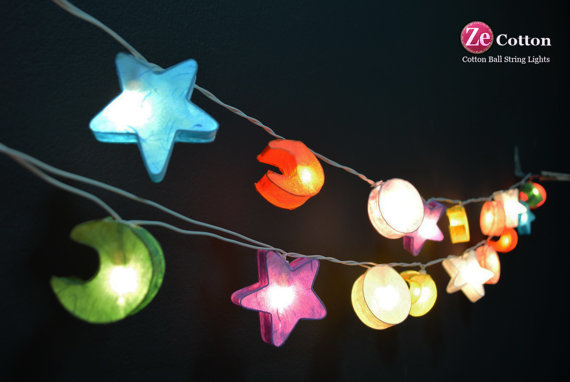 Star 20 Mixed Star Moon and Sun Mulberry paper String by zecotton