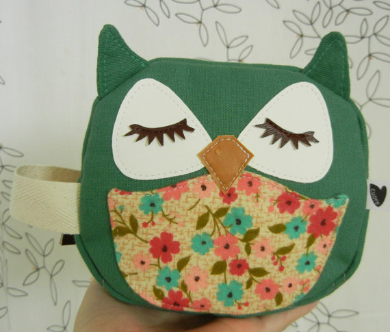 Wendy the Owl Green Applique Canvas Mini Zipper Cosmetic by Cuore