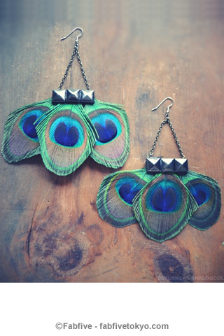 francisfrank Pyramid Peacock Feather Earrings - Fabfive ファブファイブ