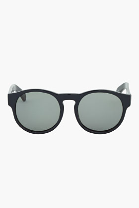 Dries Van Noten Navy Round Thick Frame Sunglasses for men | SSENSE