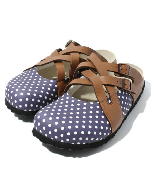 BIRKENSTOCK / PAPILLIO / LUGANO BF Polkadots Dark Blue/Light Brown (WOMEN)(サンダル) - ZOZOTOWN