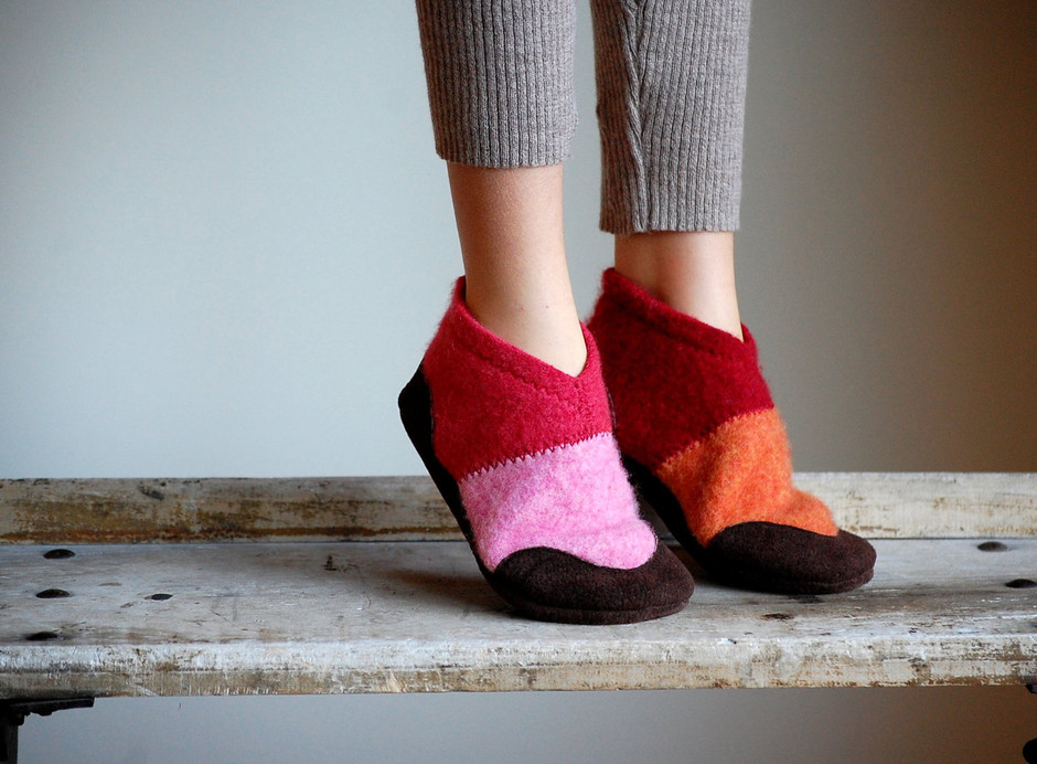 Kids Wool Slippers with Leather Soles Eco Friendly by WoolyBaby