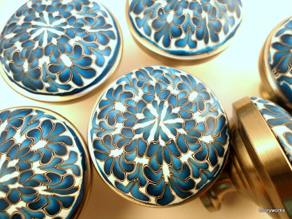 Cabinet Knobs Set of Six BLUE and WHITE Clay by gloryworks