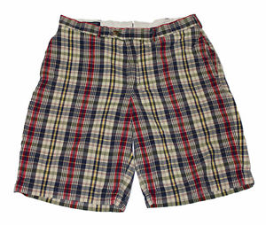 Lands End Traditional Fit Plaid Golf Shorts Menswear Clothing Mens Size 33