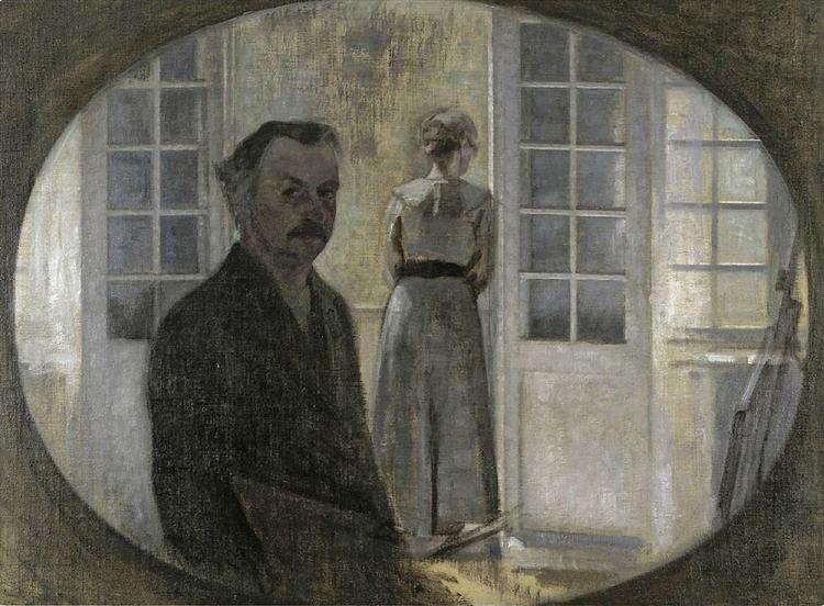 Interior with Ida Playing the Piano, 1910 - Vilhelm Hammershoi - WikiArt.org