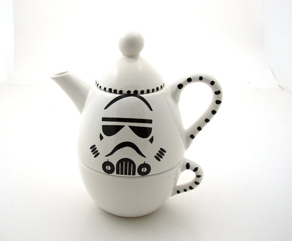 Star Wars R Inspired Storm Trooper Teapot Tea for one by LennyMud